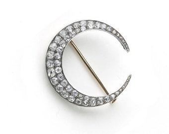 Antique Diamond Crescent Brooch