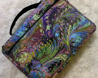 Bible Cover Purple Lavender Green Swirl Cloth Your Book Measurements Required