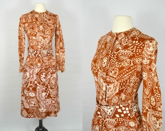 1960s Brown and White Abstract/Ethnic Print Blouse and Skirt by Annemarie Gardin for Papillon, 3 Piece Outfit