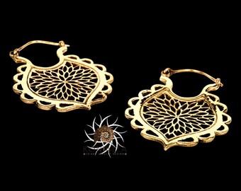Brass Earrings - Brass Hoops - Gypsy Earrings - Tribal Earrings - Ethnic Earrings - Indian Earrings - Tribal Hoops - Indian Hoops (EB94)