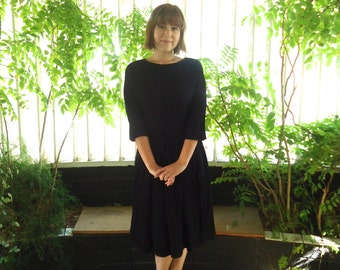 50s Black Chiffon Dress Forever Young by Puritan Size S M