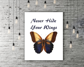 Butterfly Quote, Motivational Poster Printable Butterfly Wall Decor, Digital Quote, Butterfly Artwork, Butterfly Print, INSTANT DOWNLOAD
