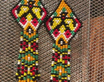 Native American traditional eagle dancer, Hand Beaded Seed Bead Earrings, yellow, red, green, orange and white. Western chic, Boho, southwes