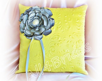 Yellow and silver grey wedding ring bearer pillow.  Wedding ceremony ring cushion.