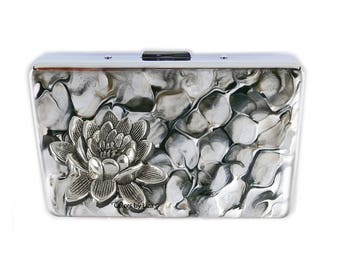 Lotus FLower RFID Wallet with Credit Card Organizer Hand Painted Enamel Quartz Inspired Assorted Colors and Personalized Options