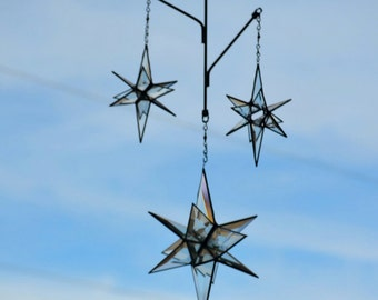 3D Clear Beveled Star Mobile, Three Twirling Beveled Stars, Glass Art Mobile, Suncatcher,  'Starry Night'