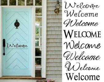 Welcome Decal  , Back Door, Front Door Welcome Sign Vinyl ( Decal Only)