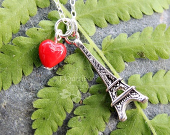 I love Paris necklace - Eiffel tower charm and red glass heart on sterling silver chain - non tarnish charm - free shipping USA