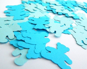 Teddy Bear Table Confetti, Turquoise Blue Bear Birthday Baby Shower Decoration, 100 Piece Mini Table Scatter Confetti, Gender Reveal Party