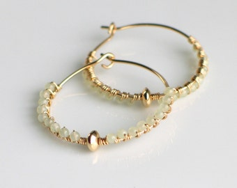 Gold Hoops with Sea Green Beads, Tiny Pale Green Beads Bound to Handmade Gold Filled Hoops, Sea Green & Gold, Ready to Mail Woman's Gift