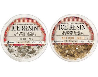 Gold & Sterling 2-pk Glitter Glass by Ice Resin