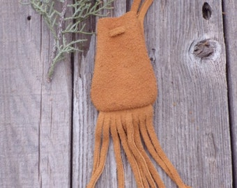 Fringed suede medicine bag , Ready to ship leather necklace bag with fringe , Leather necklace bag