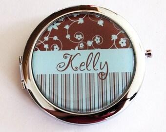 Custom compact mirror, personalized, compact mirror, bridesmaids gift, wedding party gift, pocket mirror, purse mirror  (2207)