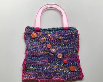 Hand Knit Purple and Pink Bag  - Diagonal Buttons