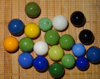 Lot of 20 Vintage Marbles / Solid Color Marbles / Glass Marbles / Game Marbles / Toy Marbles / Craft Supplies / Lot #195