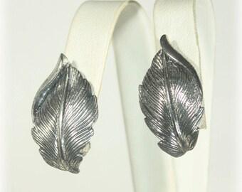 Sterling Silver Leaf Earrings by Danecraft
