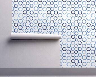 Watercolor Circles Wallpaper - Watercolor Circles By Katerinaizotova - Custom Printed Removable Self Adhesive Wallpaper Roll by Spoonflower