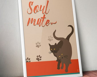 Valentines gift, Cat Print, Pet print, Black cat, Wall art prints, Art Print, Wall Art, Wall Hanging, Wall Decor