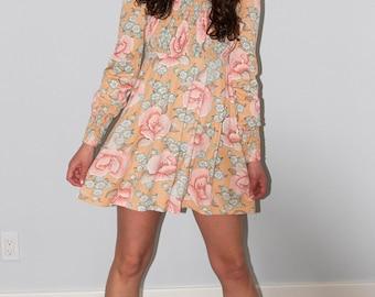 Vintage Floral Print Mini Dress