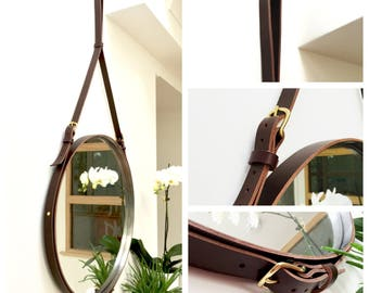 """NOBI TWO 32"""" LARGE Strapped Mirror Adnet Jamie Young Style Captain's Mirror Hanging Bddw Gobi Round leather hanging bathroom entry mirror"""