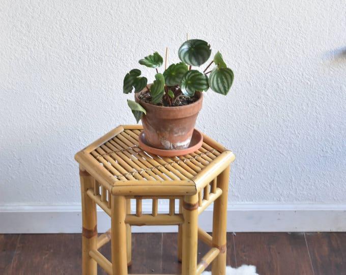 vintage mid century wood bamboo stool / plant stand
