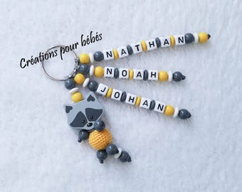 "Keychain 3D ""Raccoon raccoon"" with wooden beads in the first names of your choice"