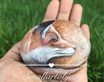 Looking forward fox Stunning Rock painting by Kannika Jansuwan