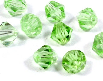 6mm Light Green Bi Cone Crystal Beads. (10) Green Crystal Beads for Jewelry. Green Bi Cone Crystals for Making Necklaces. Green Glass Beads