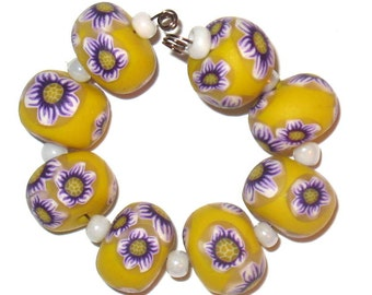Purple and White Flowers on Yellow Rondelle Beads Handmade  Polymer Clay, Purple and Yellow Millefiore Beads