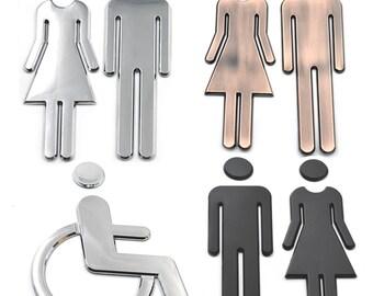 Restrooms Bathroom Adhesive Backed Men Women Handicap Office Public Toilet Signs