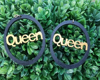 Queen - Handmade Wooden Earrings