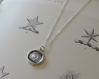 Watch Over The One I Love wax seal necklace with star - antique wax seal charm jewelry with Polaris North Star by RQP Studio
