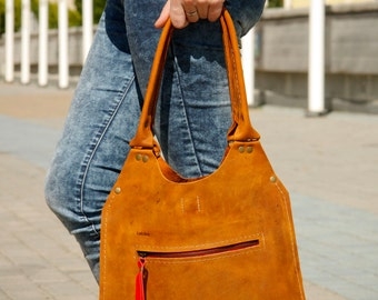 whiskey color leather, every day tote bag LADYBUQ