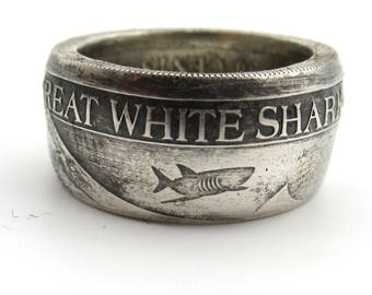 Great White Shark coin ring. Mens jewelry coin ring. Pure silver.