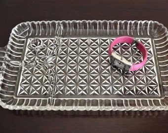Dresser Tray, Vintage Glass Tray, Mod Lunch Plate, Retro Tray, Jewelry Holder, Punch Cup Plate, Pressed Glass Tray, Glass Serving Tray