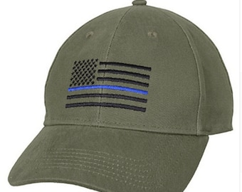 TBL Sheriff Thin Blue Line Flag Hat Law Enforcement LEO LEOW Deputy SheriffWife Police Wife Girlfriend Olive Green