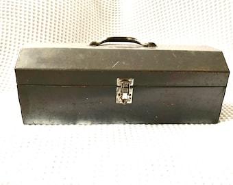 Vintage Industrial Gray Tool Box | Rustic Storage Box | Distressed Metal Tool Box | Heavy Duty Utility Box | Rustic Industrial Metal Box  |