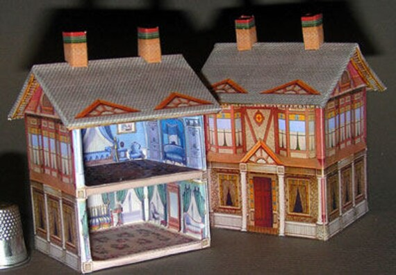 Viktoranisches Doll House, Paperminis, Bastelkit of paper in miniature for the Dollhouse, the doll house, Dollhouse Miniatures # 40039