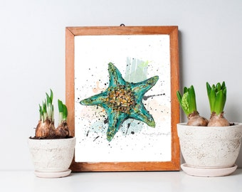Starfish art print / Large illustrations / Turquoise, orange, green / Watercolor style