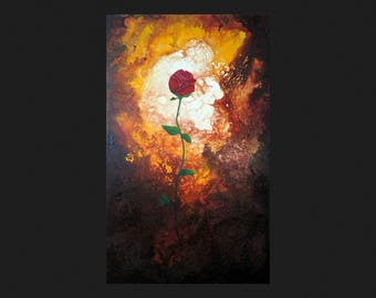 Original abstract painting, fluid painting, acrylic painting, burning rose