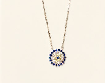 Evil Eye Necklace, in 925 Sterling Silver and Zirconia • Waterproof • Best Price on Etsy • Eye Jewelry Gifts Are Trending Now