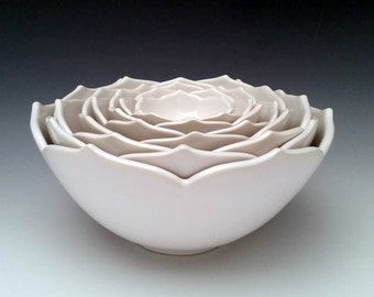 Nesting Ceramic Bowls, Eight Nesting Lotus Bowls, Serving Bowls in a Set of Eight, White Bowls or Your Choice of Color