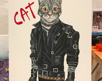CAT! Michael Jackson BAD homage acrylic painting by Michigan artist Dennis A!