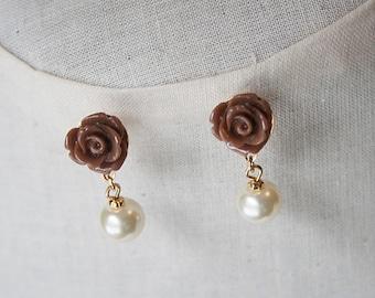 Handmade Rose Earrings Rose Pearl Earrrings Brown Rose Earrings Ivory Pearl Rose Earrings Bridesmaid Jewelry Wedding Jewelry