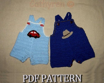 Baby Jeans, Romper, Overall with Appliques, Buttons at Crotch for Easy Change -INSTANT DOWNLOAD Crochet Pattern