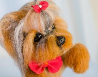 Needle felted yorkshire terrier, Valentines day gift, Needle felted animal, Needle felted dog, Yorkie, Pet memorial, Custom pet portrait Dog