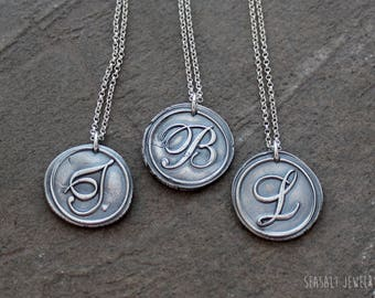 Fine Silver Wax Seal Initial Pendant Necklace - PMC Clay Handcrafted Pendant - Wax Seal Pendant - Silver Initial Necklace - Precious Metal