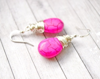 Bright Pink Turquoise Earrings, Wire Wrapped Teardrop Hot Pink Jewelry, Faux Turquoise Drops, Pink Drops