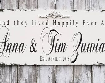 Distressed Established Sign with First and Last Names and Established Date | Rustic Wedding Decor | Personalized Happily Ever After Sign