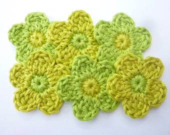 Lime green and olive green flowers made by crochet and cotton - set of 6
